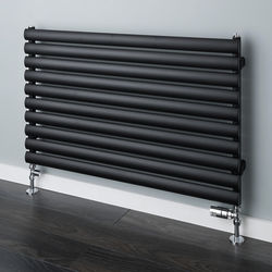 COLOUR Tallis Horizontal Radiator 600x1220mm (Jet Black, 2706 BTUs).