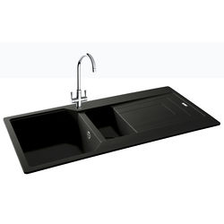 Carron Phoenix  Aruba Double Bowl Granite Sink 1000x500mm (Jet Black).