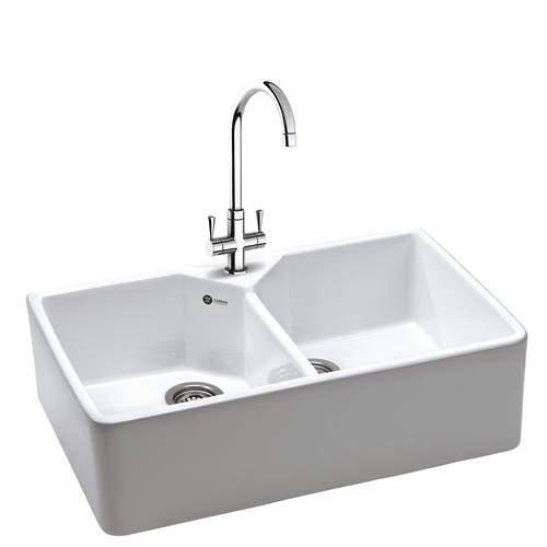 Carron Phoenix  Belfast Sink 800x490mm With Two Bowls (White Ceramic).