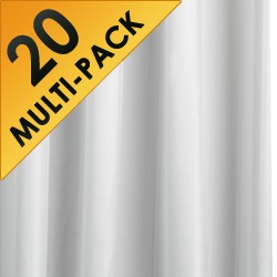 Croydex Textile Pro 20 x Shower Curtains & Rings (White, 1800x1800 mm).