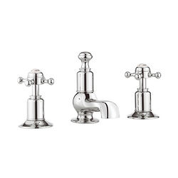 Crosswater Belgravia 3 Hole Basin Tap With Waste (Crosshead, Chrome).