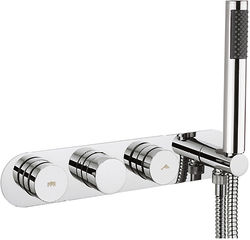 Crosswater Dial Central Thermostatic Shower Valve, Handset & Hose (2 Outlets).