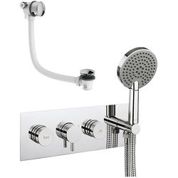 Crosswater Dial Kai Thermostatic Shower & Bath Valve, Handset & Filler.