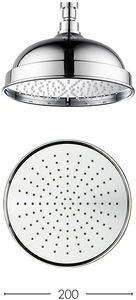 Crosswater Belgravia 200mm Round Easy Head With Easy Clean (Chrome).