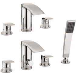 Crosswater Flow 3 Hole Basin & 4 Hole Bath Shower Mixer Tap With Kit (Chrome).