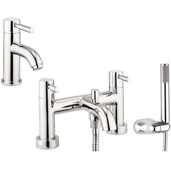 Crosswater Fusion Basin & Bath Shower Mixer Tap Pack With Kit (Chrome).