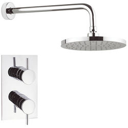 Crosswater Fusion Thermostatic Shower Valve, 200mm Round Head & Arm.