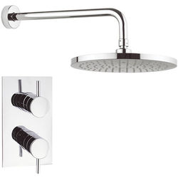 Crosswater Fusion Thermostatic Shower Valve, 250mm Round Head & Arm.
