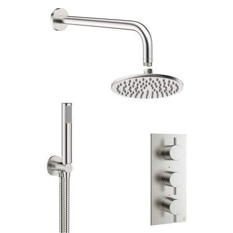 Crosswater MPRO 2 Outlet 3 Handle Shower Bundle (Brushed Steel).