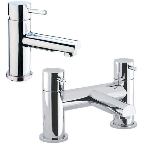 Crosswater Kai Digital Showers Basin & Bath Filler Tap Pack (Chrome).