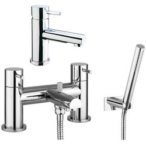 Crosswater Kai Digital Showers Basin & Bath Shower Mixer Tap Pack With Kit (Chrome).