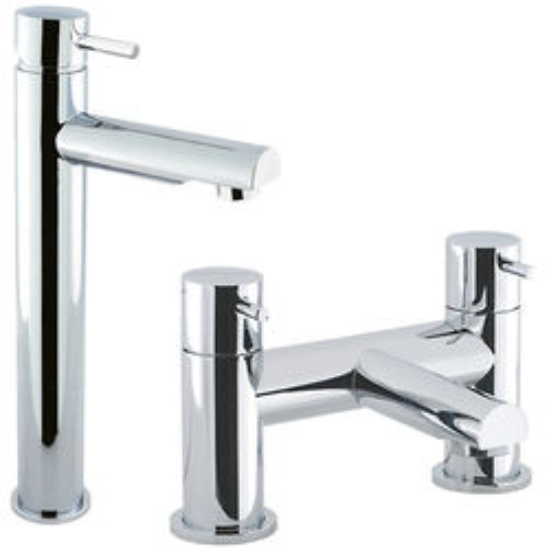 Crosswater Kai Digital Showers Tall Basin & Bath Filler Tap Pack (Chrome).