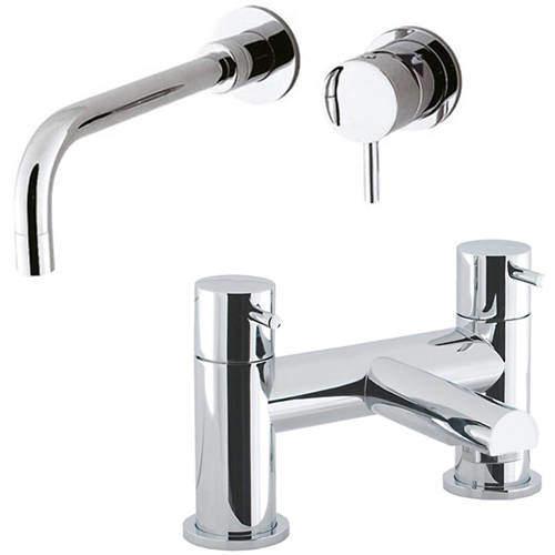 Crosswater Kai Digital Showers Wall Mounted Basin & Bath Filler Tap Pack (Chrome).