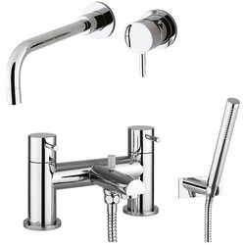 Crosswater Kai Digital Showers Wall Mounted Basin & Bath Shower Mixer Tap Pack.