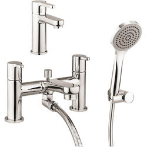 Crosswater Nova Basin & Bath Shower Mixer Tap Pack (Chrome).