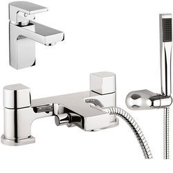 Crosswater Planet Basin & Bath Shower Mixer Tap Pack With Kit (Chrome).