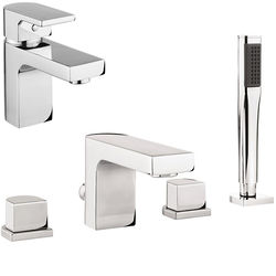 Crosswater Planet Basin & 4 Hole Bath Shower Mixer Tap Pack With Kit (Chrome).