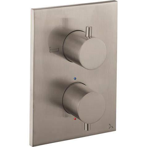 Crosswater MPRO Crossbox 2 Outlet Shower / Bath Valve (Brushed Steel).