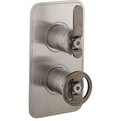Crosswater UNION Thermostatic Shower Valve (2 Outlets, Nickel & Black).