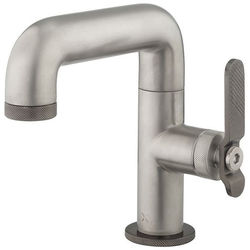 Crosswater UNION Basin Mixer Tap With Black Lever Handle (Brushed Nickel).