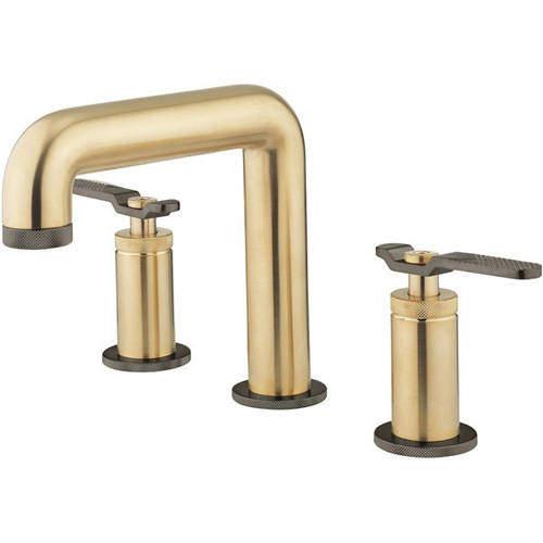 Crosswater UNION 3 Hole Basin Mixer Tap (Brushed Brass & Black Chrome).