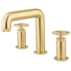 Crosswater UNION Three Hole Deck Mounted Basin Mixer Tap (Brushed Brass).