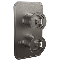 Crosswater UNION Thermostatic Shower Valve (2 Outlets, Brushed Black).