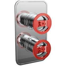 Crosswater UNION Thermostatic Shower Valve (2 Outlets, Chrome & Red).