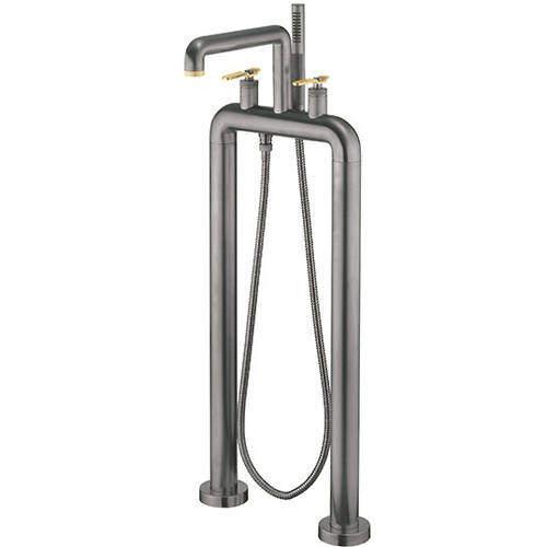 Crosswater UNION Free Standing BSM Tap, Brass Lever Handles (Br Black).
