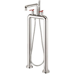 Crosswater UNION Free Standing BSM Tap With Red Lever Handles (Chrome).