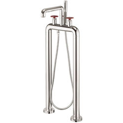 Crosswater UNION Free Standing BSM Tap With Red Wheel Handles (Chrome).