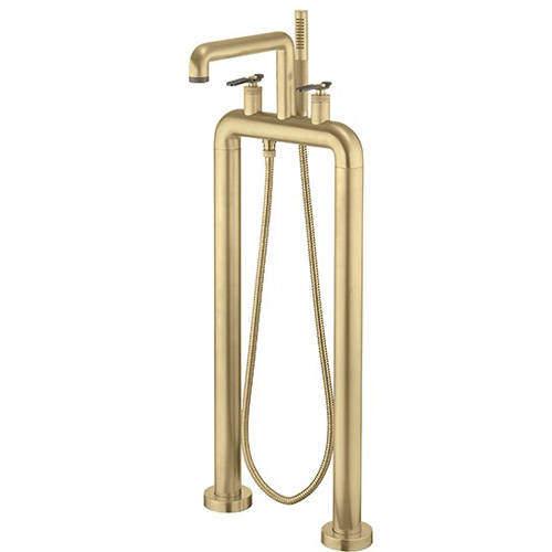 Crosswater UNION Free Standing BSM Tap, Black Lever Handles (Brass).