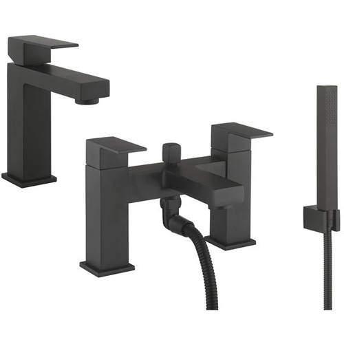 Crosswater Verge Basin & Bath Shower Mixer Tap Pack (Matt Black).