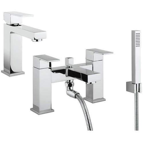 Crosswater Verge Basin & Bath Shower Mixer Tap Pack (Chrome).
