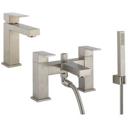 Crosswater Verge Basin & Bath Shower Mixer Tap Pack (Br Stainless Steel).