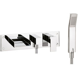 Crosswater Water Square Wall Mounted Bath Shower Mixer Tap (Chrome).