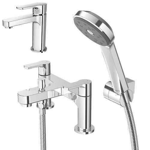 Methven Cari Basin & Bath Shower Mixer Tap Pack With Kit (Chrome).