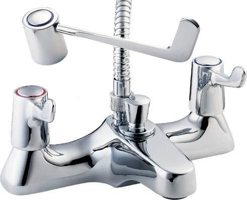 """Deva Lever Action Lever Bath Shower Mixer Tap, 6"""" Long Handles & Shower Kit."""