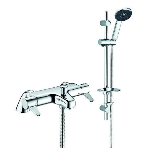 Methven Kiri Satinjet Thermostatic Bath Shower Mixer Tap & Slide Rail Kit.
