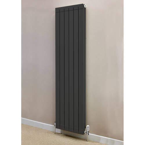EcoHeat Saxon Vertical Aluminium Radiator & Brackets 1846x260 (Olive).