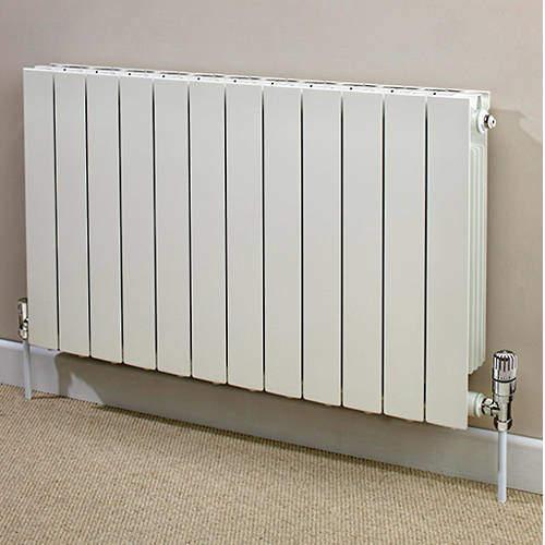 EcoHeat Saxon Horizontal Aluminium Radiator & Brackets 590x980 (White).