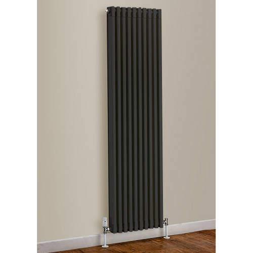 EcoHeat Woburn Vertical Aluminium Radiator 1470x420 (Jet Black).