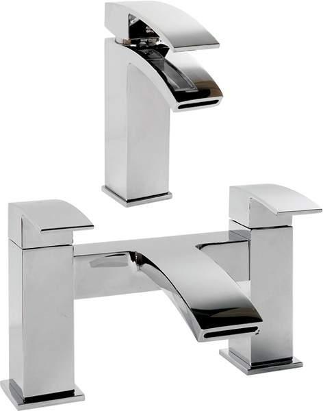 Hydra Asti Waterfall basin & Bath Filler Tap Set (Chrome).