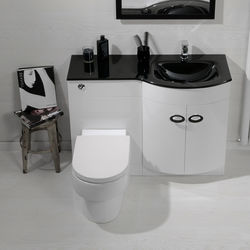 Italia Furniture Vanity Unit Pack With BTW Unit & Black Glass Basin (RH, White).
