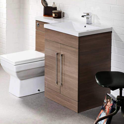Italia Furniture L Shaped Vanity Pack With BTW Unit & Basin (RH, Medium Oak).