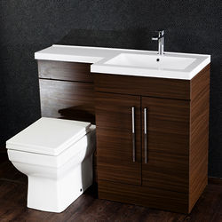 Italia Furniture L Shaped Vanity Pack With BTW Unit & Basin (RH, Walnut).