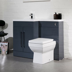 Italia Furniture L Shaped Vanity Pack With BTW Unit & Basin (LH, Anthracite).
