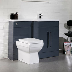 Italia Furniture L Shaped Vanity Pack With BTW Unit & Basin (RH, Anthracite).