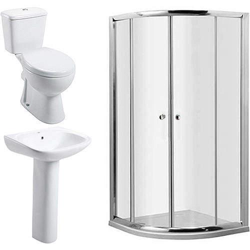 Oxford En Suite Bathroom Pack With 900mm Quadrant Enclosure & Tray (4mm).