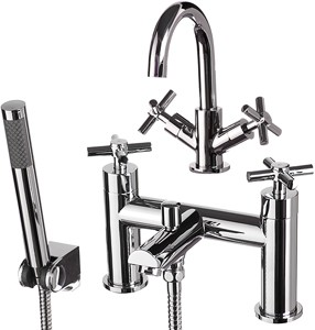 Hydra Coast Basin & Bath Shower Mixer Tap Set (Free Shower Kit).